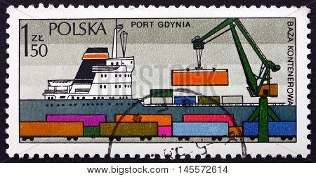 POLAND - CIRCA 1976: a stamp printed in Poland shows Loading Containers Gdynia Polish Port circa 1976