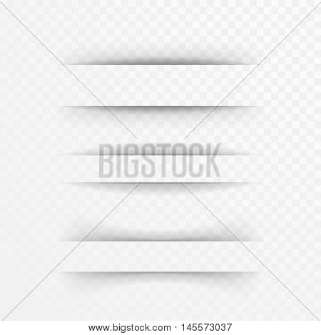 Paper sheet shadow effect. Vector transparent realistic shadows set for advertising banner templates.Vector shadow with multiply layer effect.