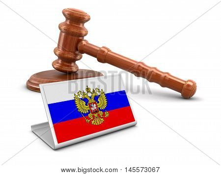 3D Illustration. 3d wooden mallet and Russian flag. Image with clipping path