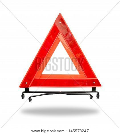 Red Emergency Triangle On A White And Clipping Path