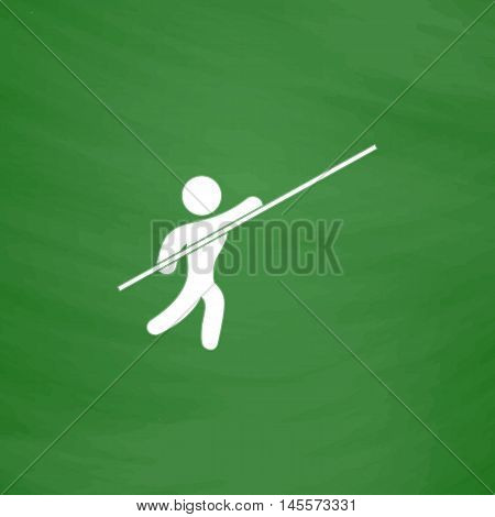 Pole vault Simple vector button. Imitation draw icon with white chalk on blackboard. Flat Pictogram and School board background. Illustration symbol