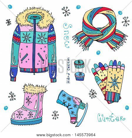 Vector set of colored warm winter fashion women's clothes. Various objects: jacket,  boots, scarf, hand cream, skates, gloves, snowflake, inscription. Isolated on a white background
