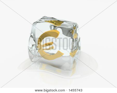 Euro In Ice Cube 3D Rendering