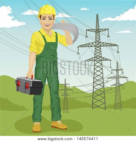 electrician man standing near high voltage power lines in the summer