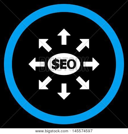 Seo Marketing vector bicolor rounded icon. Image style is a flat icon symbol inside a circle, blue and white colors, black background.