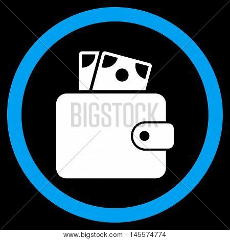 Wallet vector bicolor rounded icon. Image style is a flat icon symbol inside a circle, blue and white colors, black background.