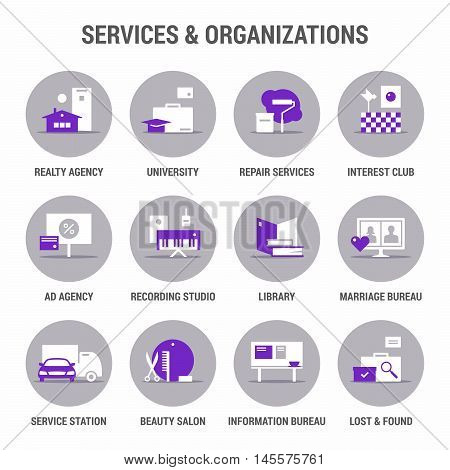 Icons set of services and organizations. Flat. Color 1.