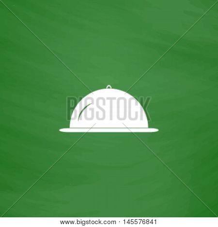cloche Simple vector button. Imitation draw icon with white chalk on blackboard. Flat Pictogram and School board background. Illustration symbol