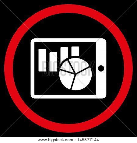 Charts on Pda vector bicolor rounded icon. Image style is a flat icon symbol inside a circle, red and white colors, black background.