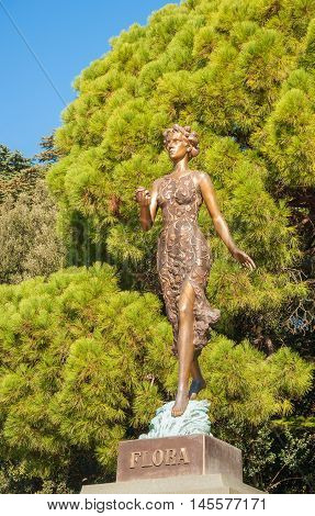 Monument to goddess of flowers and spring flora in Nikitsky Botanical Garden in Crimea. Opened October 4, 2012. Sculptor Oleg Medvedev. Russia, Crimea, Yalta. November 2, 2015