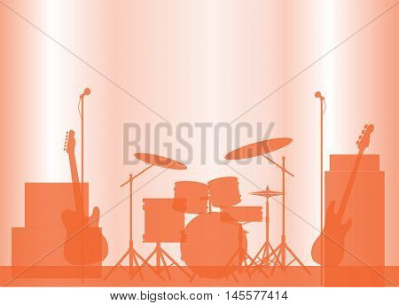 Silhouette of a rock bands equipment on stage