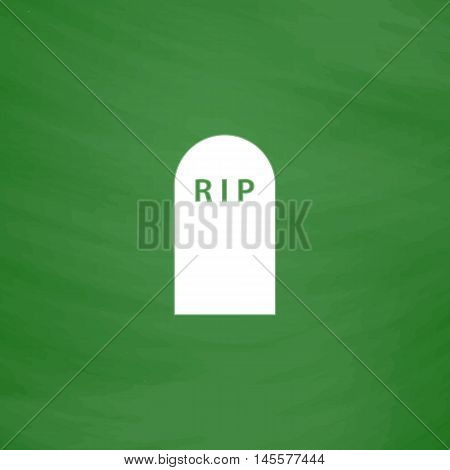 Grave Simple vector button. Imitation draw icon with white chalk on blackboard. Flat Pictogram and School board background. Illustration symbol