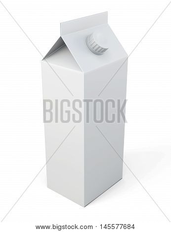 Milk Carton Package Isolated On White Background. Template For Your Design.