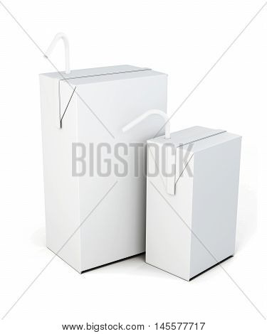 Cartons Of Milk With The Straw To Drink