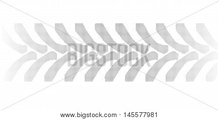 Halftone tractor tyre marks isolated over a white background