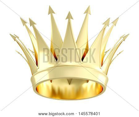 Golden Crown Isolated On White Background. 3D Illustration