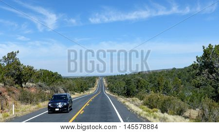 Long, straight highway in Arizona, United States of America, zwei-lane roadway with marking and emergency lane,  landscape with pinewood and blue sky with clouds,