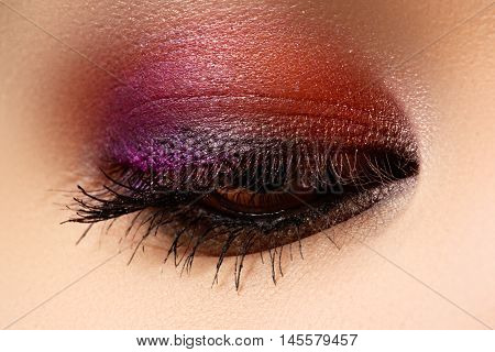 Macro Shot Of Woman's Beautiful Eye, Bright And Deep Colors Make