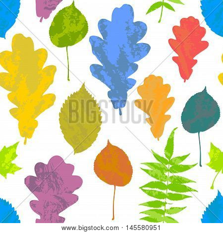 Floral seamless pattern with autumn grunge yellow red orange green blue tree leaves on white background. Maple Elm Oak Aspen textured leaves. Vector illustration.