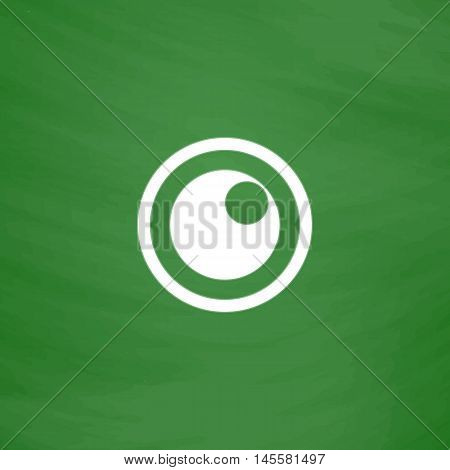 pupil Simple vector button. Imitation draw icon with white chalk on blackboard. Flat Pictogram and School board background. Illustration symbol