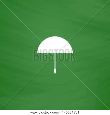 bumbershoot Simple vector button. Imitation draw icon with white chalk on blackboard. Flat Pictogram and School board background. Illustration symbol