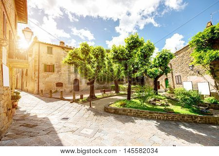 Street view in Tuscan town in Italy