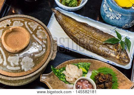 Luxurious Japanese meal set - broiled sole fish and boiled loaches with egg and burdock