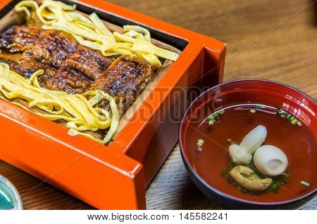 Unagi Don - Grill Eel Rice In Red Box With Clear Soup