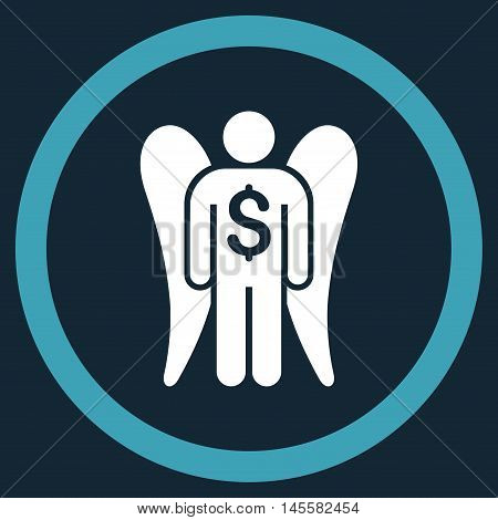 Angel Investor vector bicolor rounded icon. Image style is a flat icon symbol inside a circle blue and white colors dark blue background.