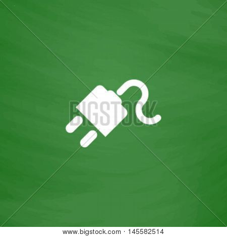 Power cord Simple vector button. Imitation draw icon with white chalk on blackboard. Flat Pictogram and School board background. Illustration symbol