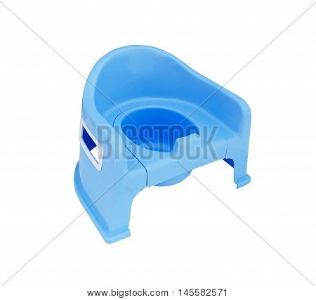 Blue baby potty isolated on white background clipping path