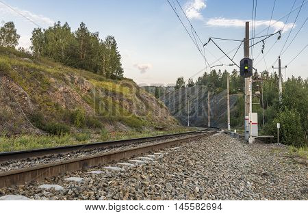 Republic of Bashkortostan Russia. Railway in the mountains of the Southern Urals.