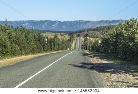 Republic of Bashkortostan Russia. The road in the mountains of the Southern Urals.