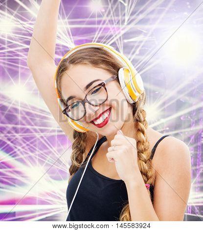 Music Teenager Girl Dancing With Headhpone