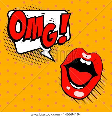 OMG! Pop art style human mouth with omg phrase. Vector illustration.