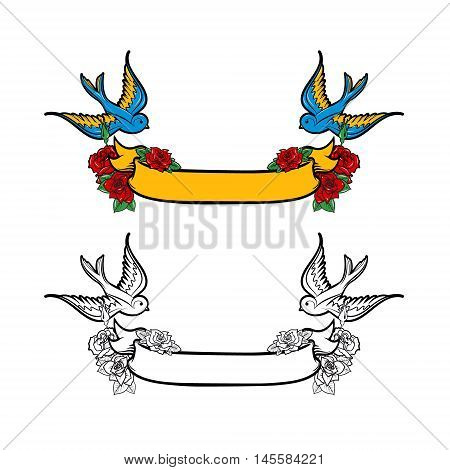 Ribbon with roses and birds. Design element for poster t-shirt print. Vector illustration.