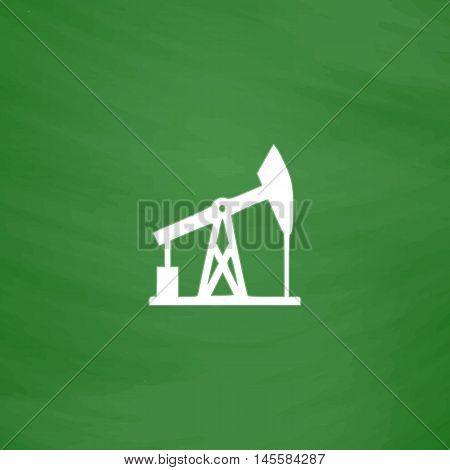 oil pump Simple vector button. Imitation draw icon with white chalk on blackboard. Flat Pictogram and School board background. Illustration symbol