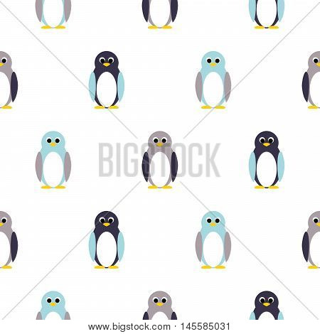 Penguin blue, purple on white kid pattern. Baby penguin toy vector seamless pattern for fabric print and apparel.
