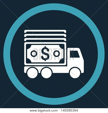 Cash Lorry vector bicolor rounded icon. Image style is a flat icon symbol inside a circle, blue and white colors, dark blue background.