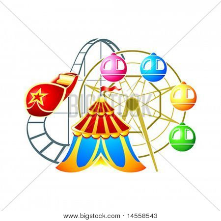 Circus, ferris wheel and rollercoaster at amusement park