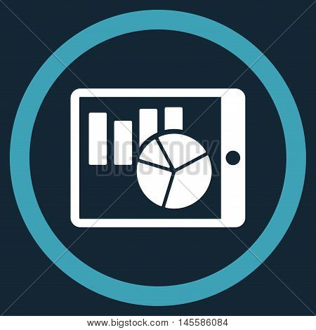 Charts on Pda vector bicolor rounded icon. Image style is a flat icon symbol inside a circle, blue and white colors, dark blue background.