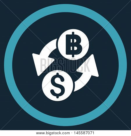 Dollar Baht Exchange vector bicolor rounded icon. Image style is a flat icon symbol inside a circle, blue and white colors, dark blue background.