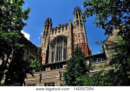 New Haven Conncticut - June 19 2013: The beautiful English gothic style Sterling Law School at Yale University
