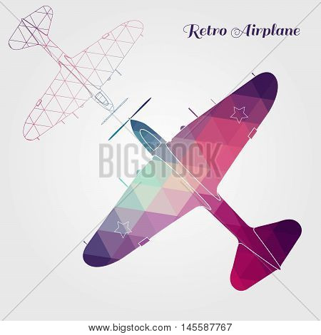 Two retro aircraft on white background. Vector illustration.