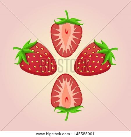 Vector illustration of logo for the theme strawberry.Isolated drawing consists of ripe red fruits slice with green leaves on a pink background.The icon for the fresh juice vitamins health café bar