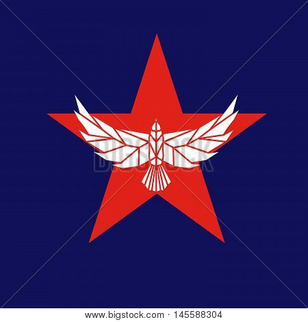 Star shape with eagle. Vector sign. Logo template.