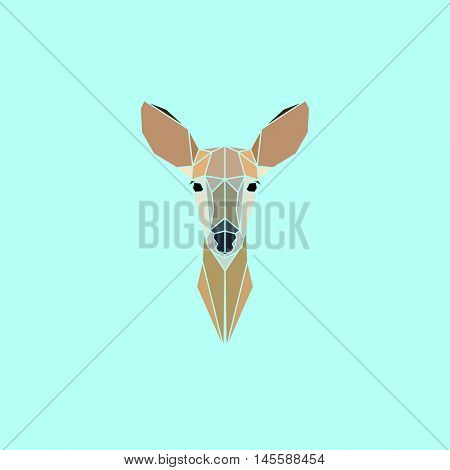 Roe Deer head geometry logo. Vector illustration.