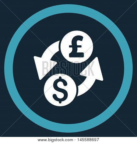 Dollar Pound Exchange vector bicolor rounded icon. Image style is a flat icon symbol inside a circle, blue and white colors, dark blue background.