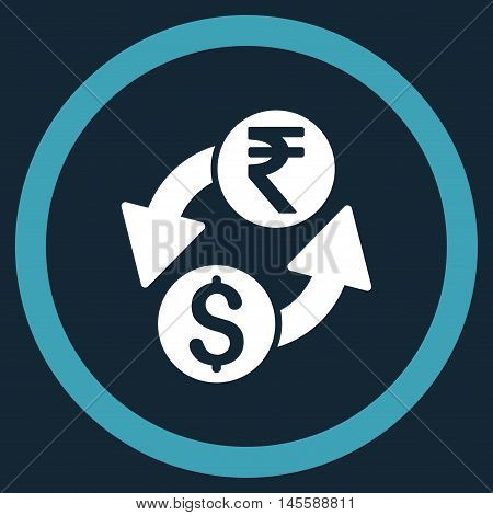Dollar Rupee Exchange vector bicolor rounded icon. Image style is a flat icon symbol inside a circle, blue and white colors, dark blue background.