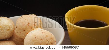 brazilian cheese rolls and coffe, café com pão de queijo